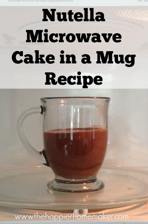 nutella cake in mug recipe