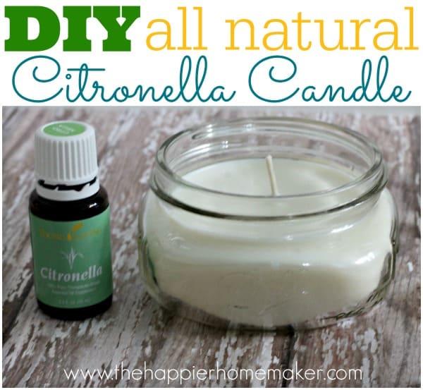 A close up of DIY citronella candle next to citronella essential oil