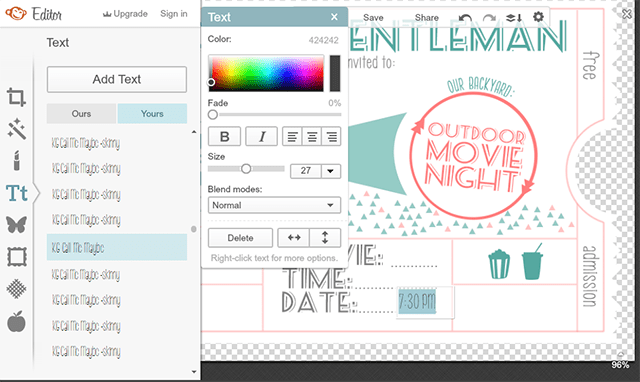 Customizable Movie Night Invitations Instructions PicMonkey Screenshot| The Happier Homemaker contributor Trisha D from Black and White Obsession
