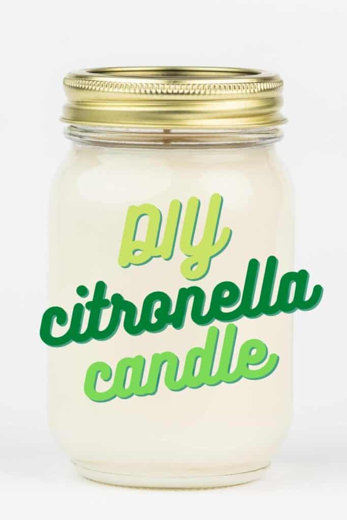 text reading diy citronella candle over photo of white candle in mason jar