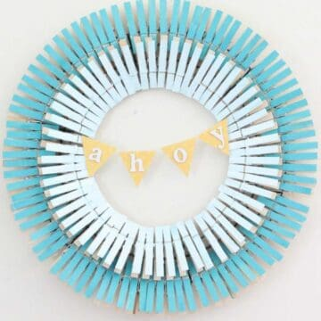 clothespin wreath in shades of blue