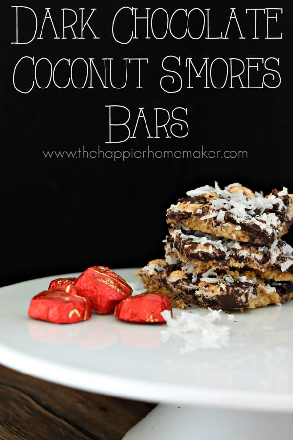 dark chocolate coconut s'mores bars