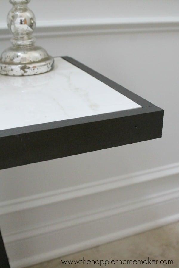 detail marble top table diy