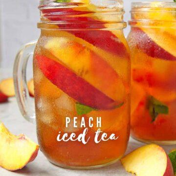 peach iced tea in mason jar