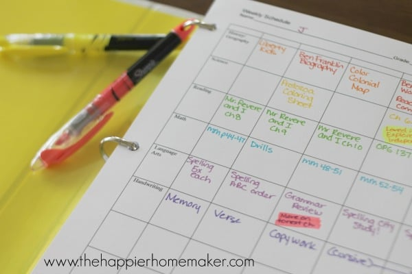 weekly homeschool planning sharpie