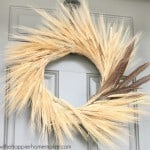 wheat wreath with accent pheasant feathers on door