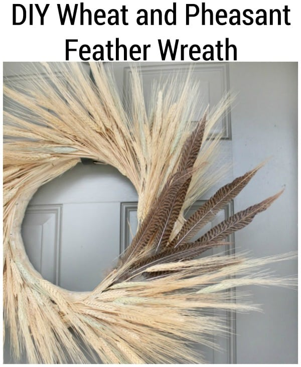 diy feather and wheat wreath