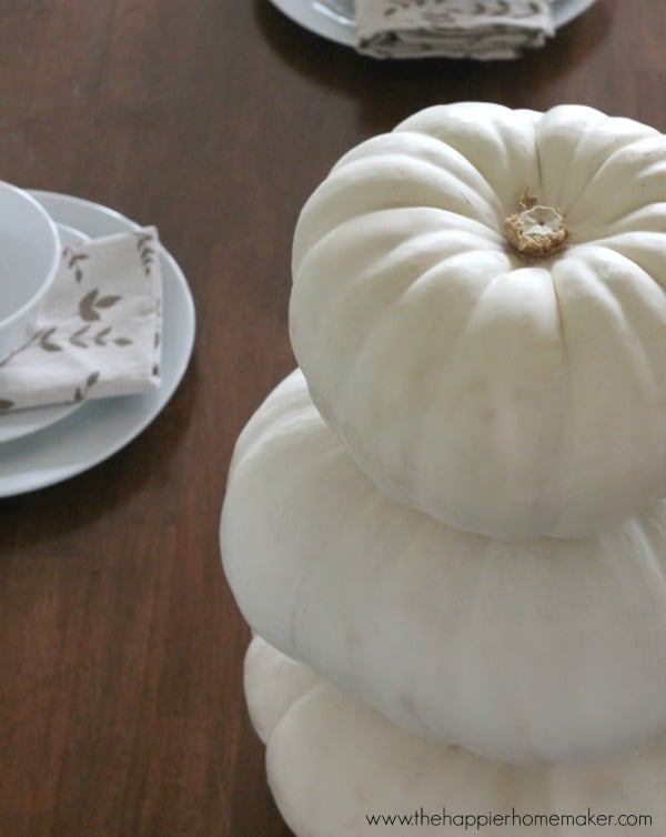 stacked pumpkin centerpiece