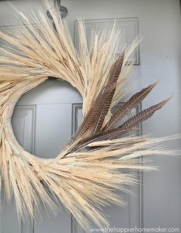 wheat and pheasant wreath diy
