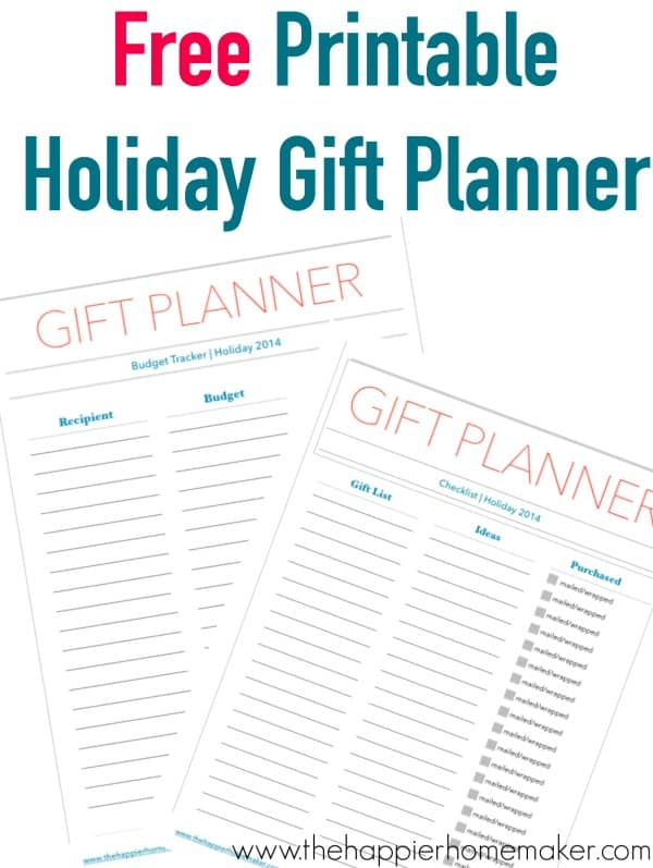 holiday gift planner printables