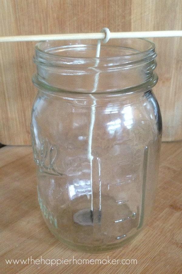 setting up mason jar candle wick