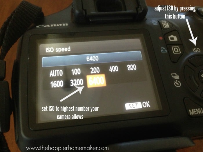 adjust iso setting camera