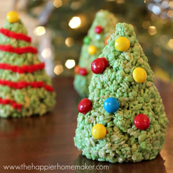 A close up of Christmas tree Rice Krispie treats