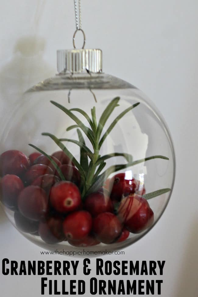cranberry and rosemary filled ornament