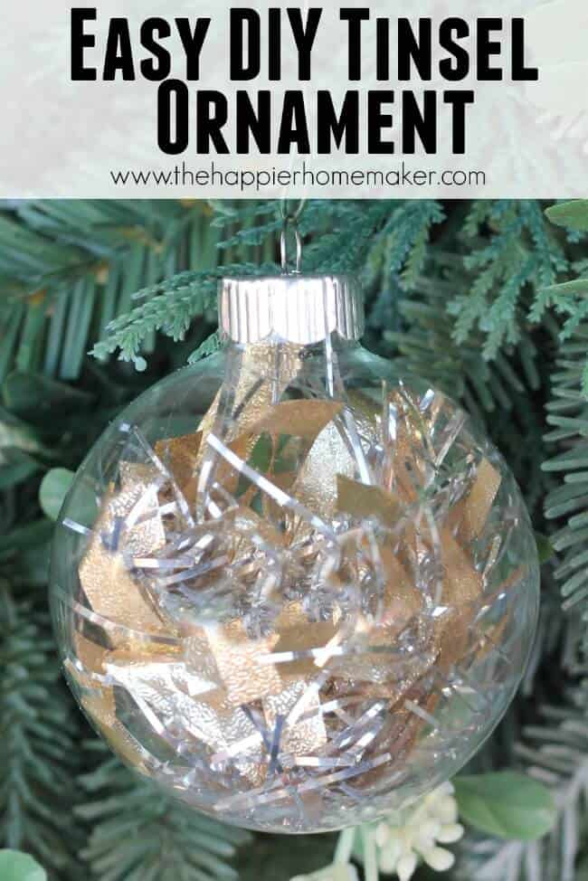 A close up of a DIY tinsel ornament