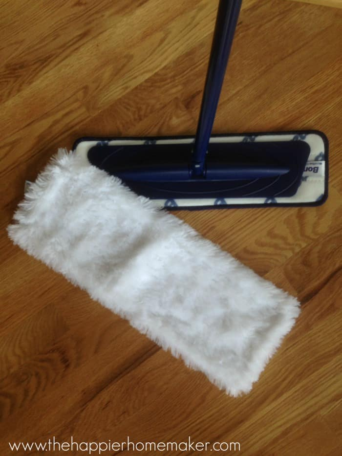 dust mop on wood floor