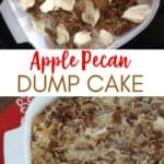 collage of apple dump cake before and after baking with text reading apple pecan dump cake