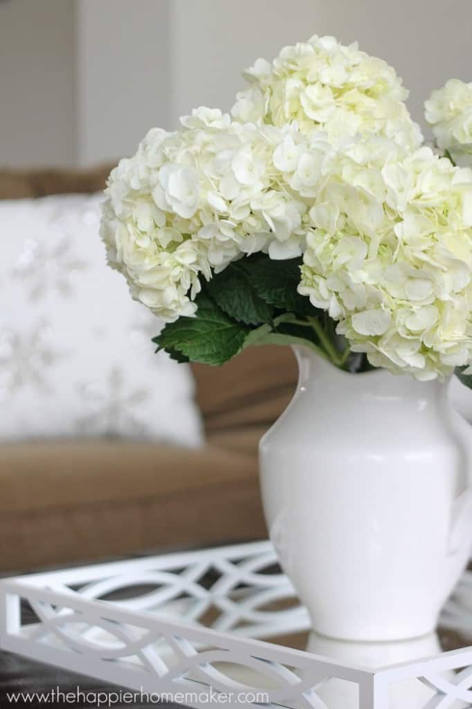 close up hydrangeas home tour