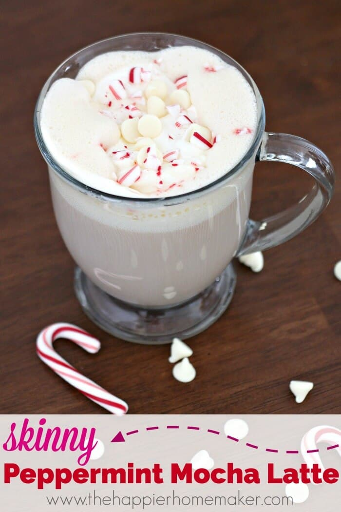 A cup of a skinny peppermint mocha latte