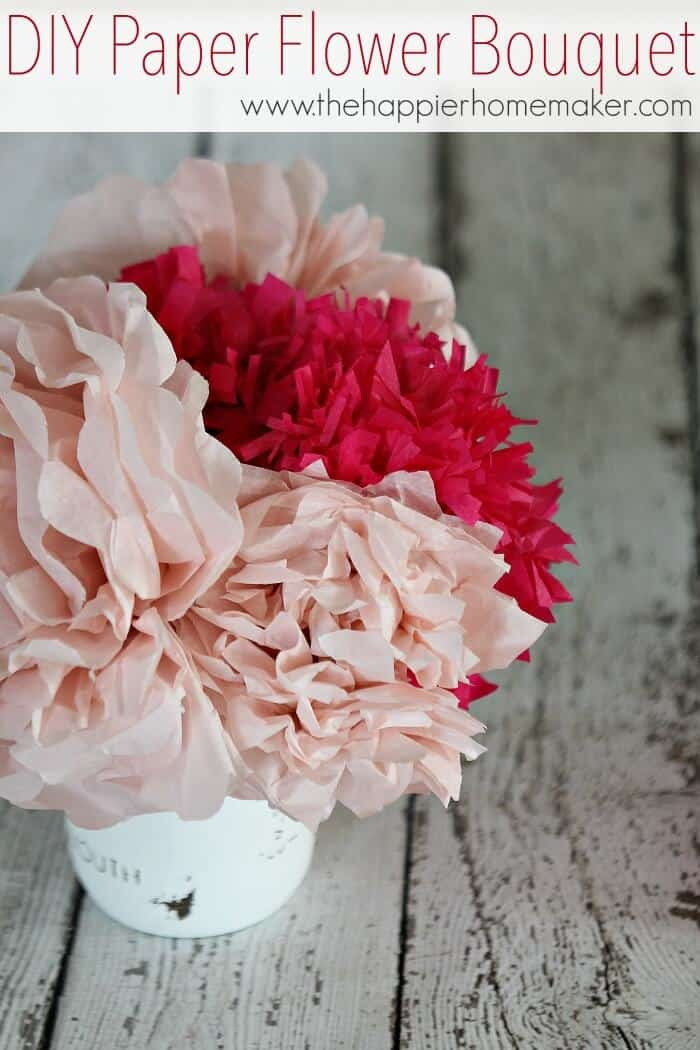 DIY tissue paper flower bouquet with red and pink paper flowers