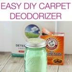 A light green jar of DIY carpet deodorizer in front of Arm & Hammer baking soda