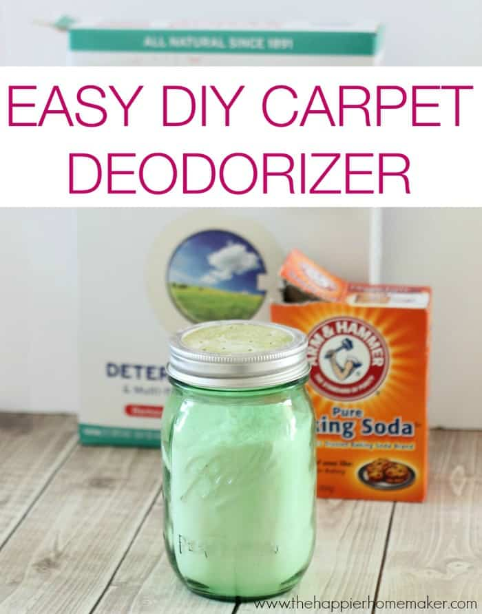 A light green jar of DIY carpet deodorizer in front of Arm & Hammer baking soda