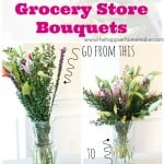 before and after of turorial for arranging grocery store flowers