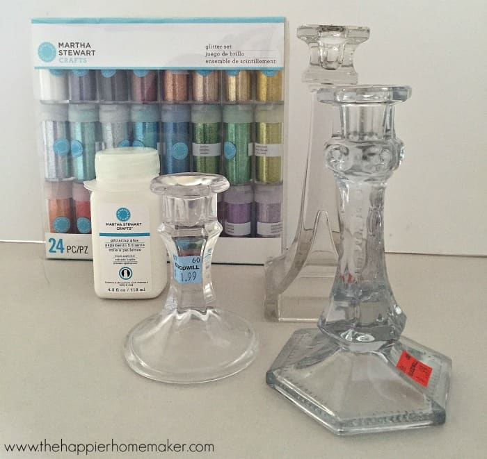how to glitter candlesticks no shed tutorial