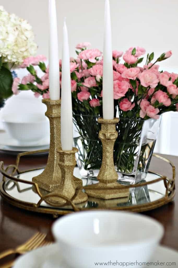 how to make glittered candlesticks