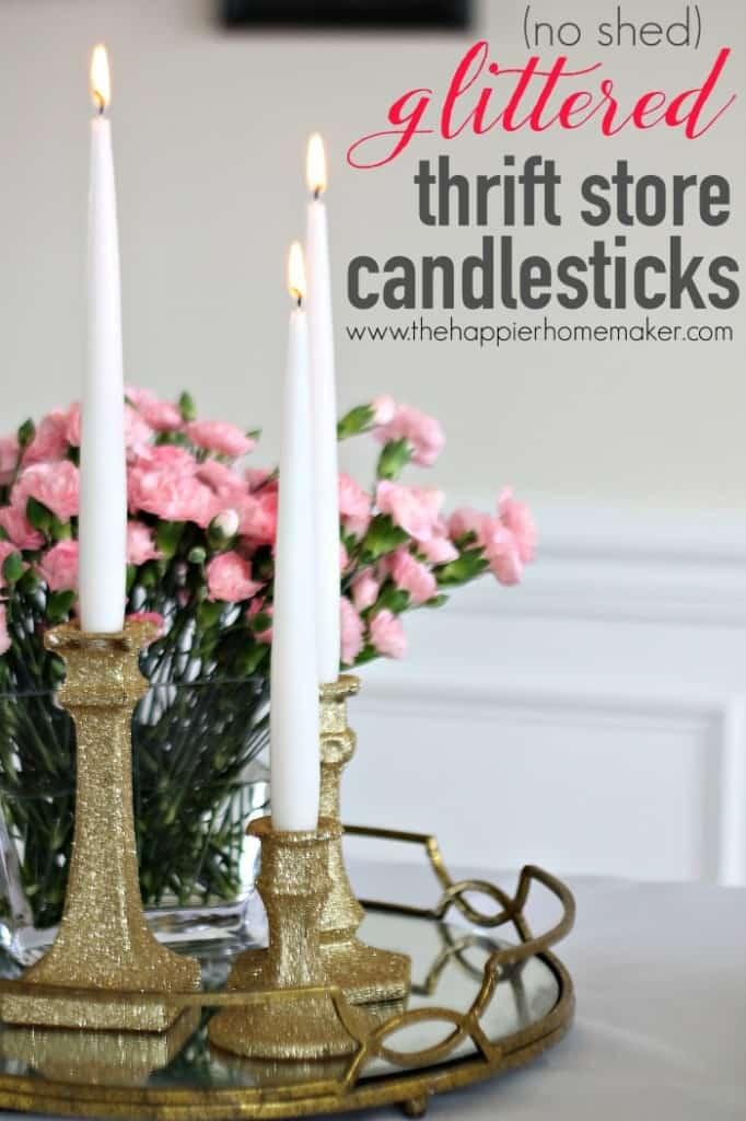 no shed glittered candlesticks