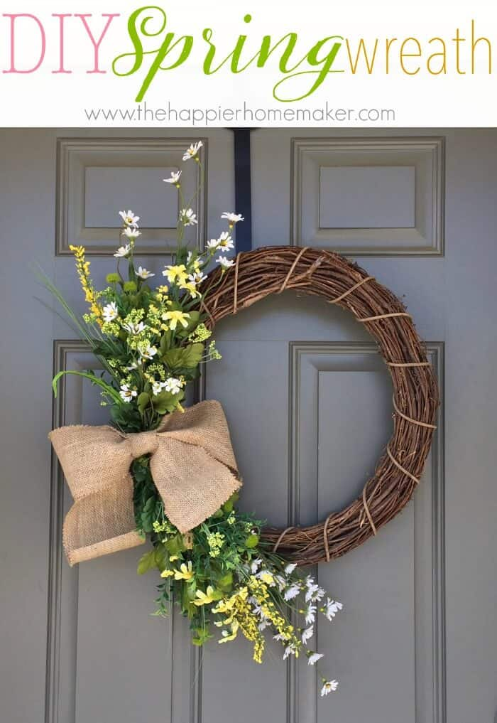 This DIY Floral Spring Wreath is so easy to make-this blogger shares a step by step photo tutorial!