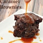 A close up of easy caramel brownies with caramel sauce being drizzled on them