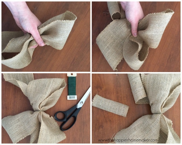 Diy floral spring wreath the happier homemaker for How to use burlap ribbon