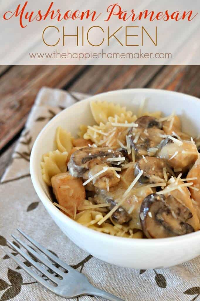 This Mushroom Parmesan Chicken is an amazing gourmet recipe that is on the table in under 30 minutes!