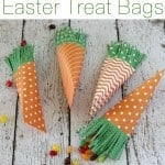 DIY Easter carrot goodie bags shaped and colored like carrots