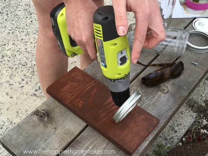 attaching mason jar band to wood