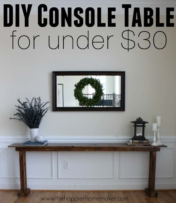 diy console table for 20 the happier homemaker. Black Bedroom Furniture Sets. Home Design Ideas