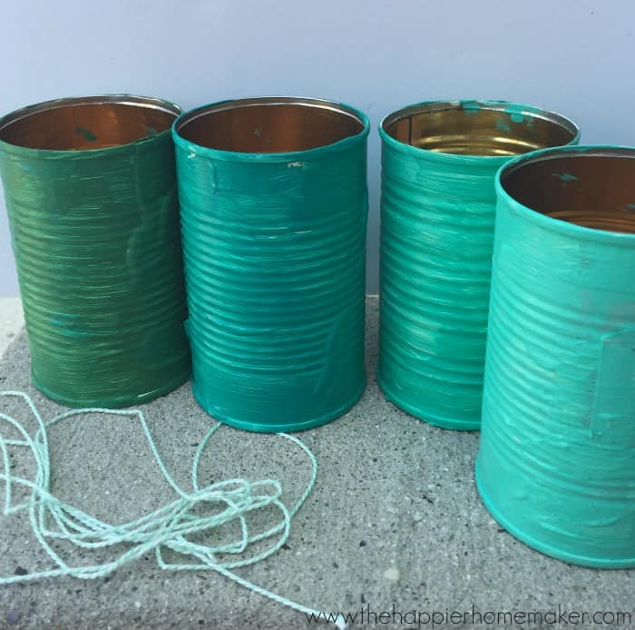 painted tin cans bird feeder
