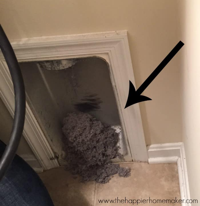 Dryer lint that had blocked the vent