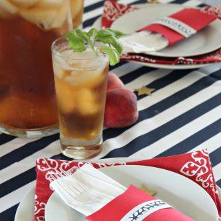 DIY Patriotic Utensil Holder and Peach Basil Iced Tea