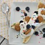 breakfast banana split with yogurt and fruit