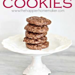 A stack of chocolate brownie cookies on a white serving dish