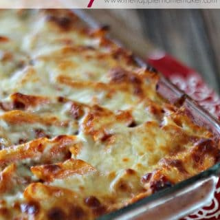 sausage baked penne in casserole dish