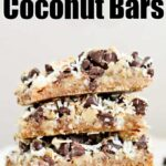 coconut chocolate bars stacked on top of one another