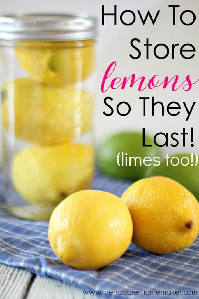 A mason jar with lemons in water showing how to make the fruit last longer