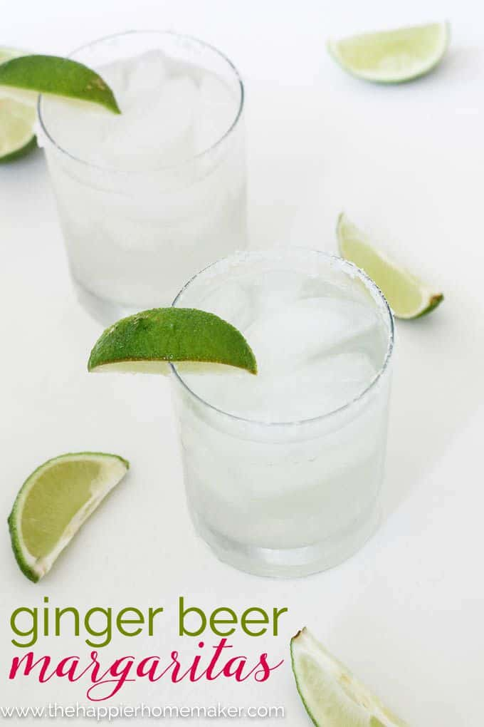 An overhead picture of a ginger beer margarita with lime slices