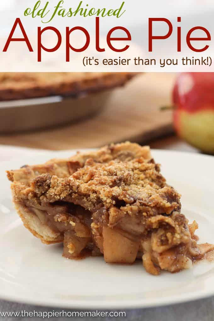 Old Fashioned Dutch Apple Pie on a white plate