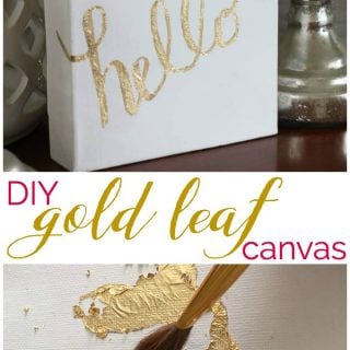 """The words """"DIY gold leaf canvas"""" in-between two pictures of gold leaf on white canvas"""