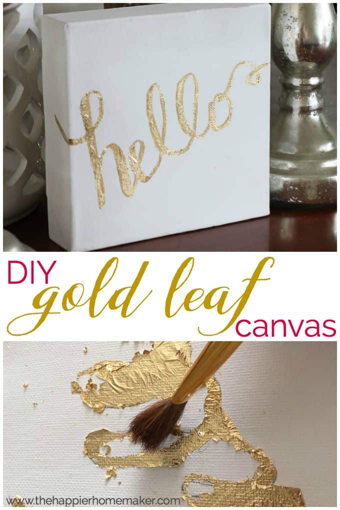 "The words ""DIY gold leaf canvas\"" in-between two pictures of gold leaf on white canvas"