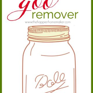 "A drawing of a mason jar with the words ""goo remover"" over it"
